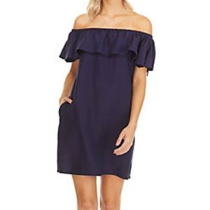 Tommy Bahama Blue Linen Off The Shoulder dress